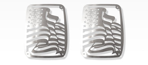 2007-18 Jeep Wrangler JK & JKU - US Flag Tail Light Covers | Stainless Steel, Choose Finish
