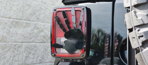 2007-18 Jeep Wrangler JK & JKU - Wave Hand Tail Light Covers | Stainless Steel, Choose Finish