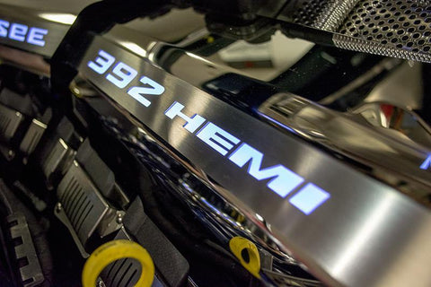 "LED Illumination | SRT & SRT8 392 6.4L Polished Fuel Rail Covers with ""392 HEMI"" Lettering"