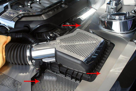 Mustang Fender Covers Brushed/Perforated 5Pc Illuminated w/Perf Caps V8 & GT 5.0 2011-2012 American Car Craft