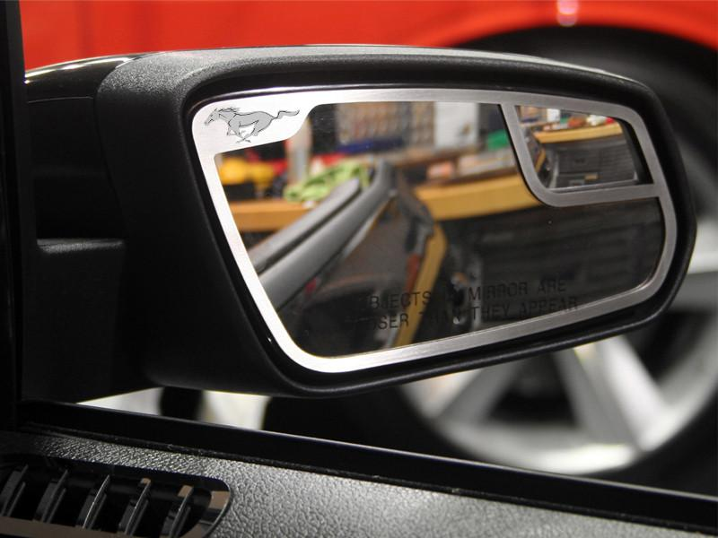 Mustang Mirror Trim Pony Style Side View 2Pc Brushed 2011-2012 American Car Craft