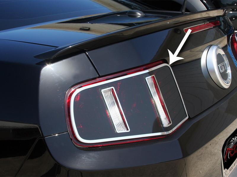 Mustang Taillight Blackout w/Polished Trim Rings 2Pc 2010-2012 American Car Craft