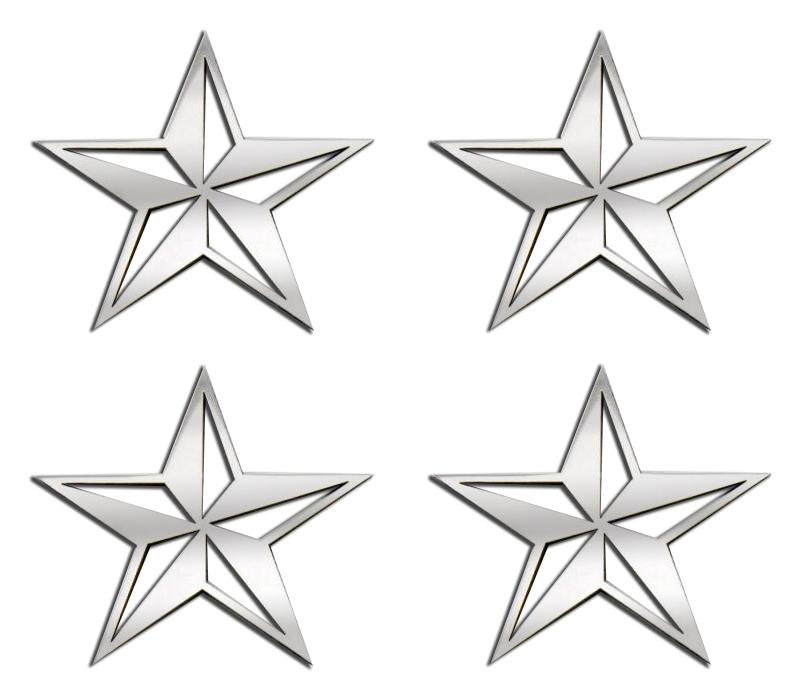 Nautical Star Emblems Stainless Steel 4PC American Car Craft