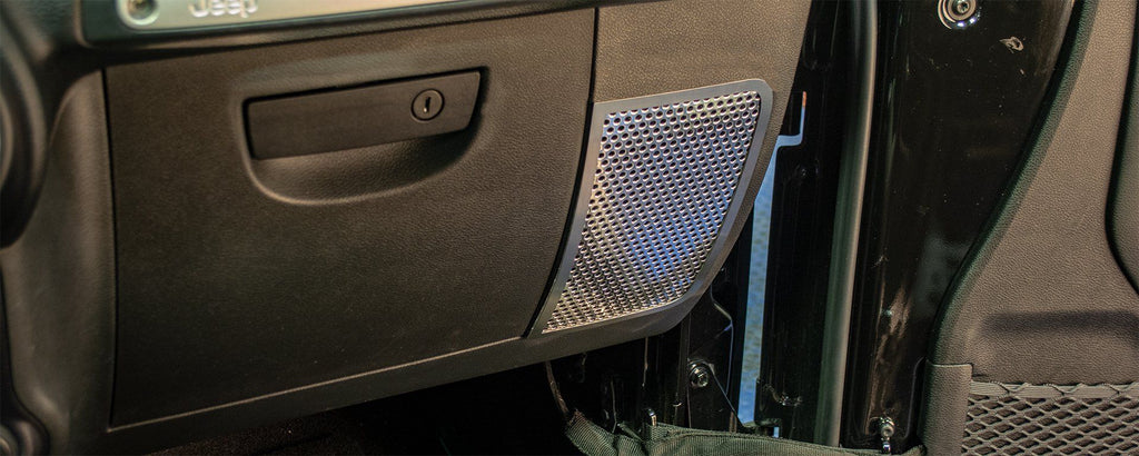 Stainless Steel Perforated Speaker Grilles | 2PC [07-18 Jeep Wrangler JK/JKU] American Car Craft
