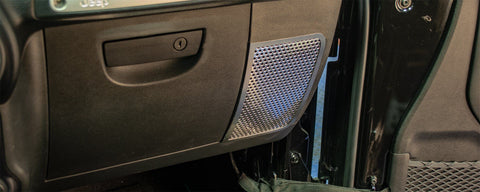 2007-18 Jeep Wrangler JK/JKU - Perforated Speaker Grilles 2Pc | Stainless Steel
