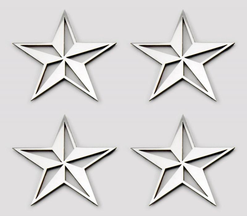 Stainless Steel Sticker Badges - Nautical Star 4Pc Set American Car Craft
