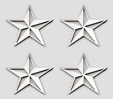 Nautical Star Emblems Stainless Steel 4PC