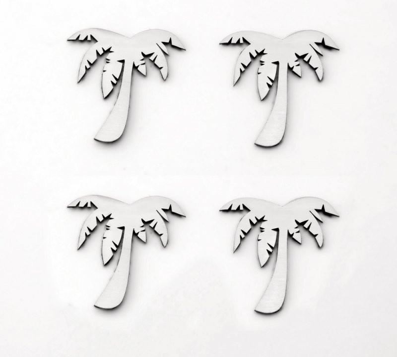 Stainless Steel Sticker Badges - Palm Tree 4Pc Set American Car Craft