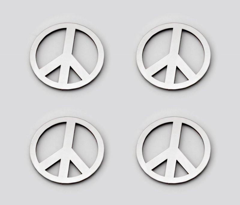 Stainless Steel Sticker Badges - Peace Sign 4Pc Set American Car Craft