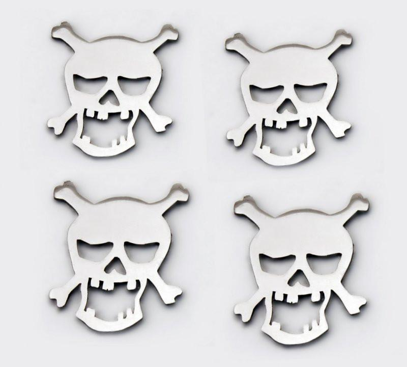 Stainless Steel Sticker Badges - Skull 4Pc Set American Car Craft