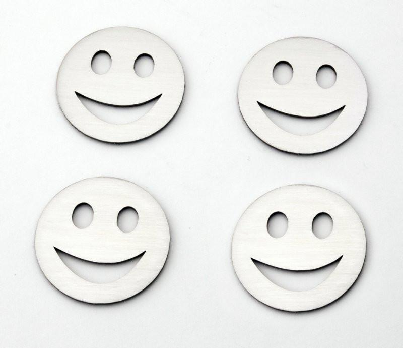 Stainless Steel Sticker Badges - Smiley 4Pc Set American Car Craft