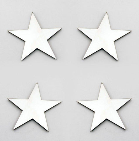 Stainless Steel Sticker Badges - Star 4Pc Set American Car Craft