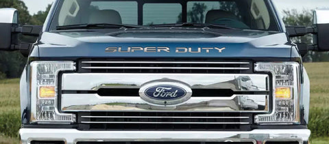 2017-2021 Ford F-250 & F-350 - Super Duty Front Letter Inserts | Polished Stainless Steel