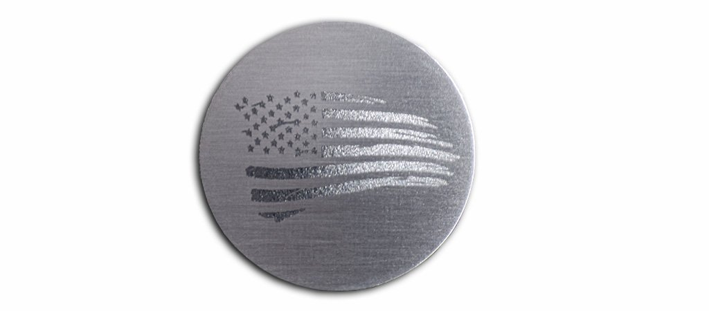 Tattered American Flag Shift Knob Trim | Brushed Stainless Steel American Car Craft