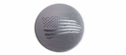 Battle Worn American Flag Shift Knob Trim | Brushed Stainless Steel