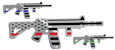 Truck, Jeep, Gun Safe Emblem - AR15 Gun w/Laser Cut Flag Motif 1Pc | Stainless Steel, Choose Finish/Color Inlay