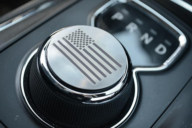 USA Etched Flag Dial Shift Knob Trim | Brushed Stainless Steel American Car Craft