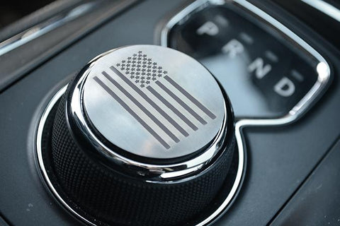 USA Etched Flag Dial Shift Knob Trim | Brushed Stainless Steel