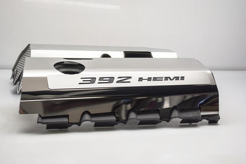 "Vinyl Inlay Style | SRT & SRT8 392 6.4L Polished Fuel Rail Covers with ""392 HEMI"" Lettering American Car Craft Black Carbon Fiber"