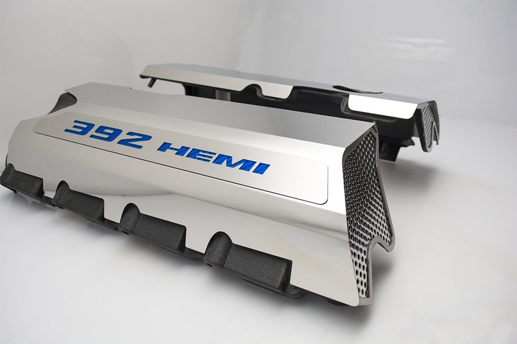 "Vinyl Inlay Style | SRT & SRT8 392 6.4L Polished Fuel Rail Covers with ""392 HEMI"" Lettering American Car Craft Blue Carbon Fiber"