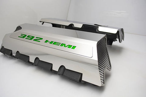 "Vinyl Inlay Style | SRT & SRT8 392 6.4L Polished Fuel Rail Covers with ""392 HEMI"" Lettering American Car Craft Green Carbon Fiber"