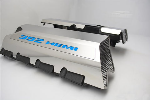 "Vinyl Inlay Style | SRT & SRT8 392 6.4L Polished Fuel Rail Covers with ""392 HEMI"" Lettering American Car Craft Mopar Blue"