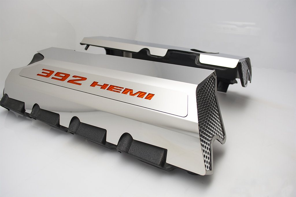 "Vinyl Inlay Style | SRT & SRT8 392 6.4L Polished Fuel Rail Covers with ""392 HEMI"" Lettering American Car Craft Orange Carbon Fiber"