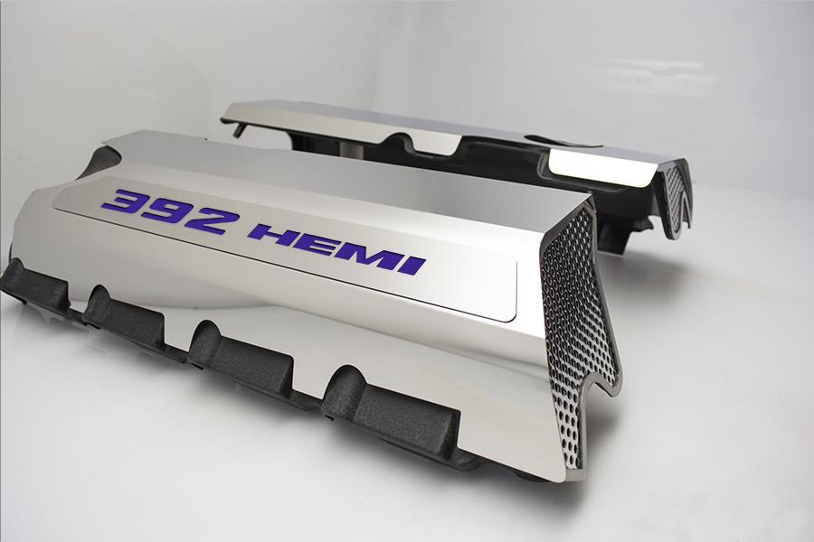 "Vinyl Inlay Style | SRT & SRT8 392 6.4L Polished Fuel Rail Covers with ""392 HEMI"" Lettering American Car Craft Plum Crazy Purple"