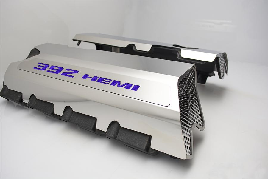 "Vinyl Inlay Style | SRT & SRT8 392 6.4L Polished Fuel Rail Covers with ""392 HEMI"" Lettering American Car Craft Purple Carbon Fiber"