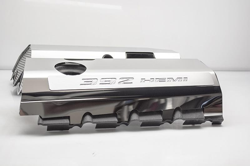 "Vinyl Inlay Style | SRT & SRT8 392 6.4L Polished Fuel Rail Covers with ""392 HEMI"" Lettering American Car Craft White Carbon Fiber"