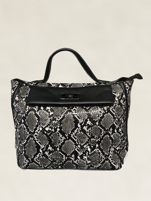 Grey and Black Leopard Print Tote
