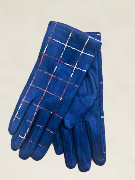 Silver Checked Gloves