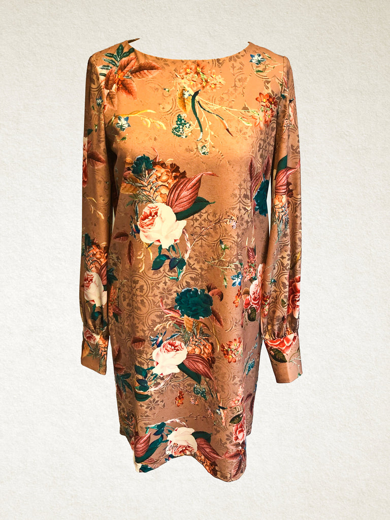 Shift Dress with Autumnal Floral Pattern