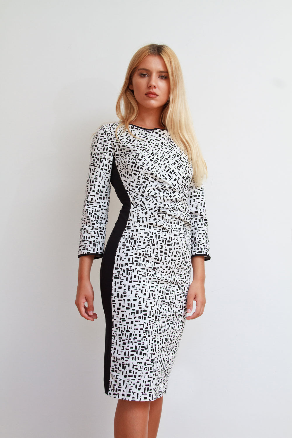 Helen Ruched Dress White and Black