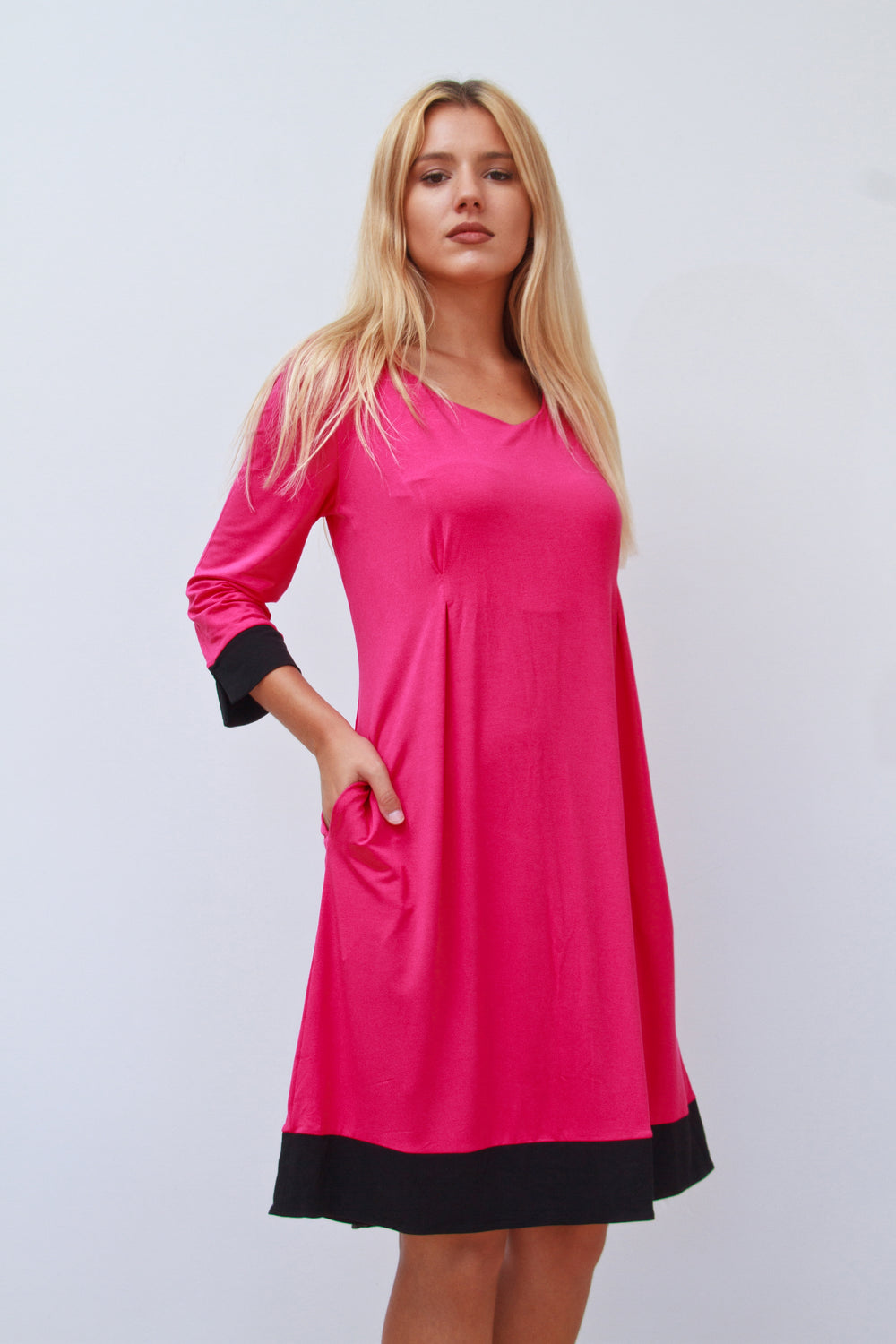 Molly Fuschia and Black Tunic Dress with Pockets
