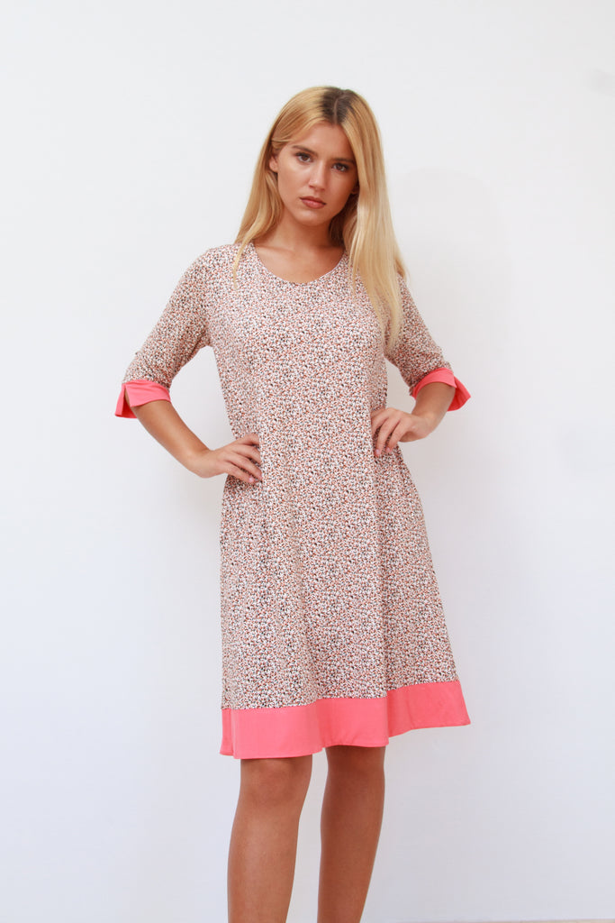 Molly Tunic Dress Coral and Black with Pockets
