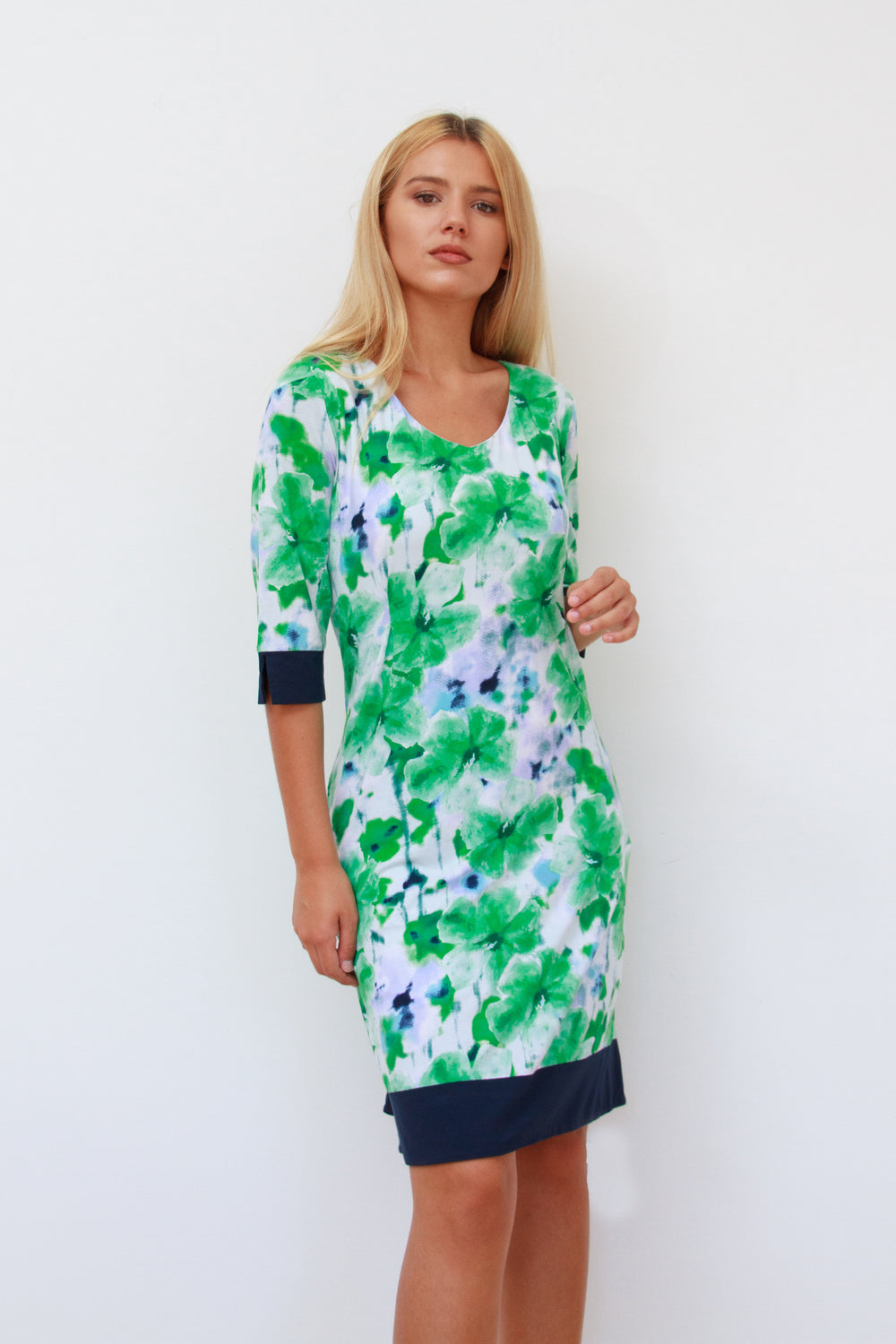 Molly Tunic Dress with Pockets Navy and Green
