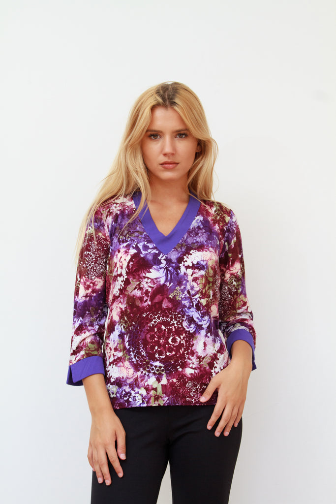 Violet Floral drop back Top