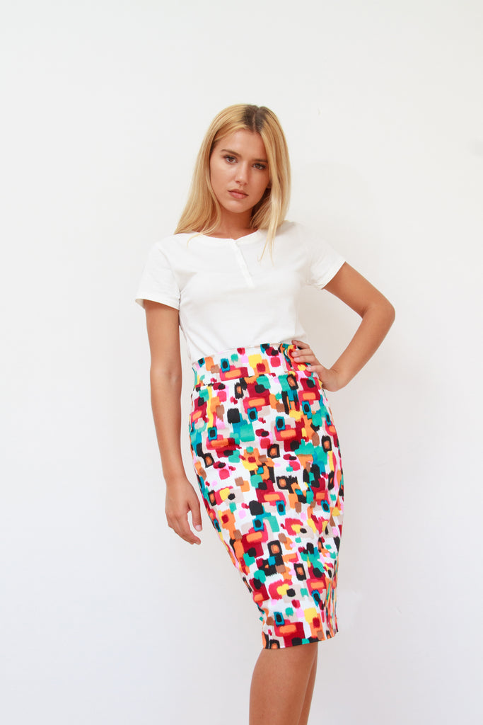 Charlotte High Waist Pencil Skirt Multi Colour