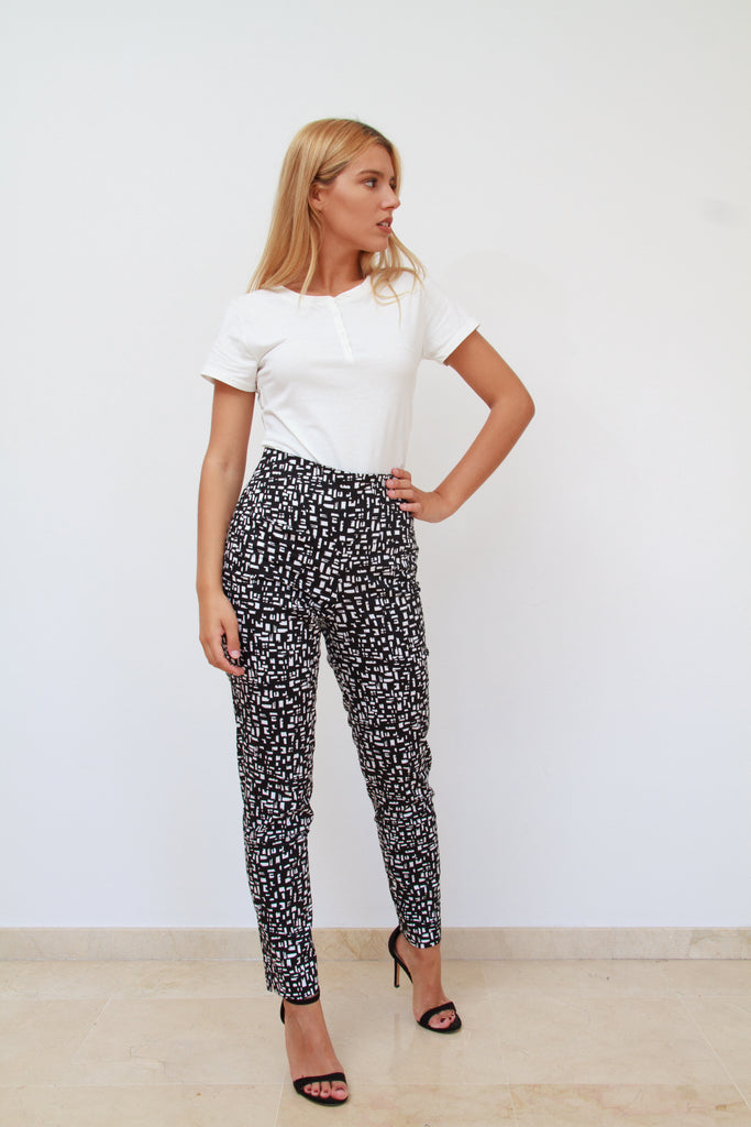 High Waist Black and White Pants