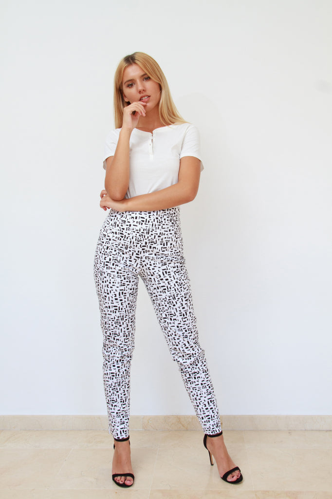 High Waist White and Black Pants