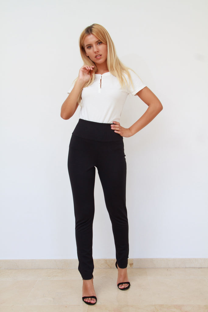 High Waisted Soft Jersey Black Pants