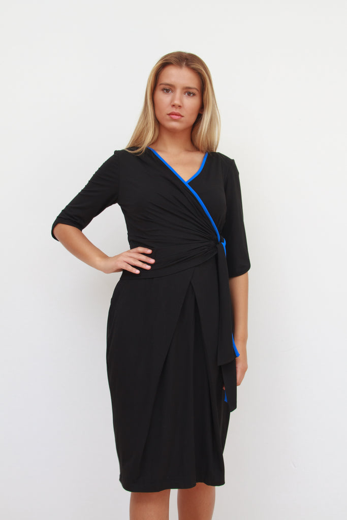 Katherine Wrap Dress Black and Cobalt