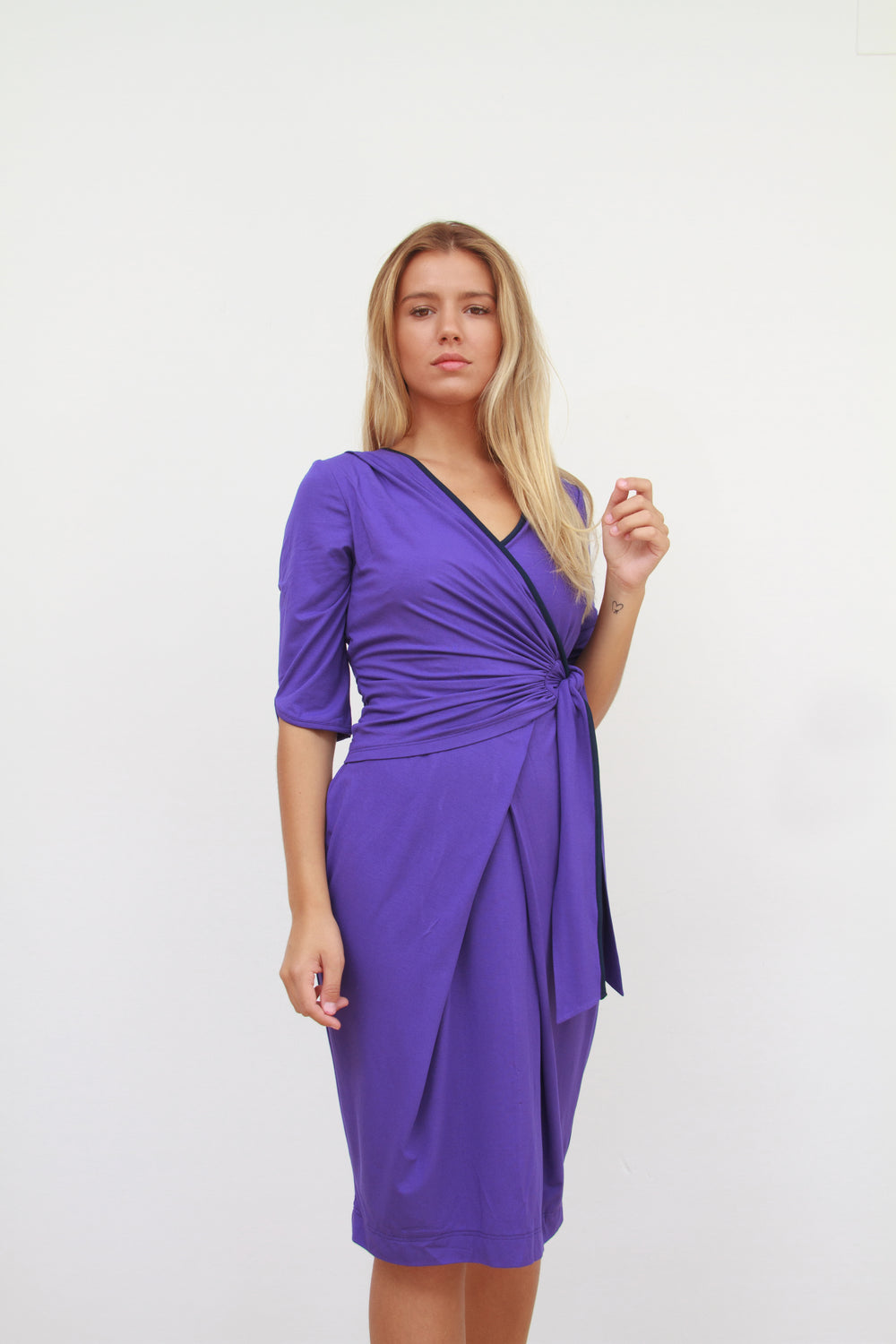 Katherine Wrap Dress Violet and Navy