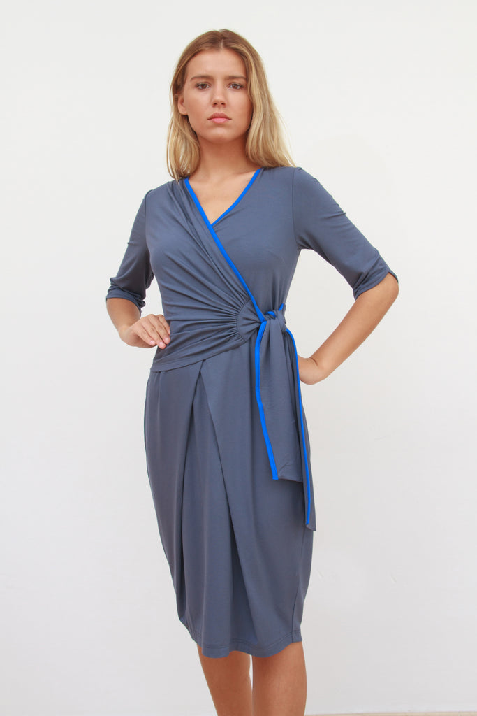 Katherine Wrap Dress Indigo and Cobalt