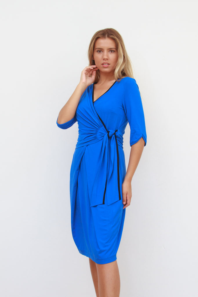 Katherine Wrap Dress Cobalt Blue and Navy