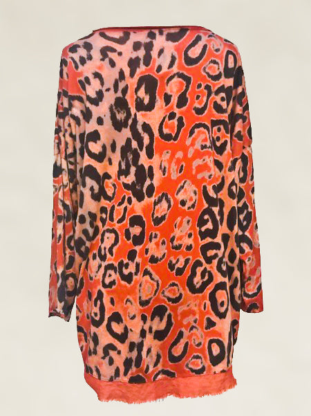 Soft Orange Leopard Print Free Size Top