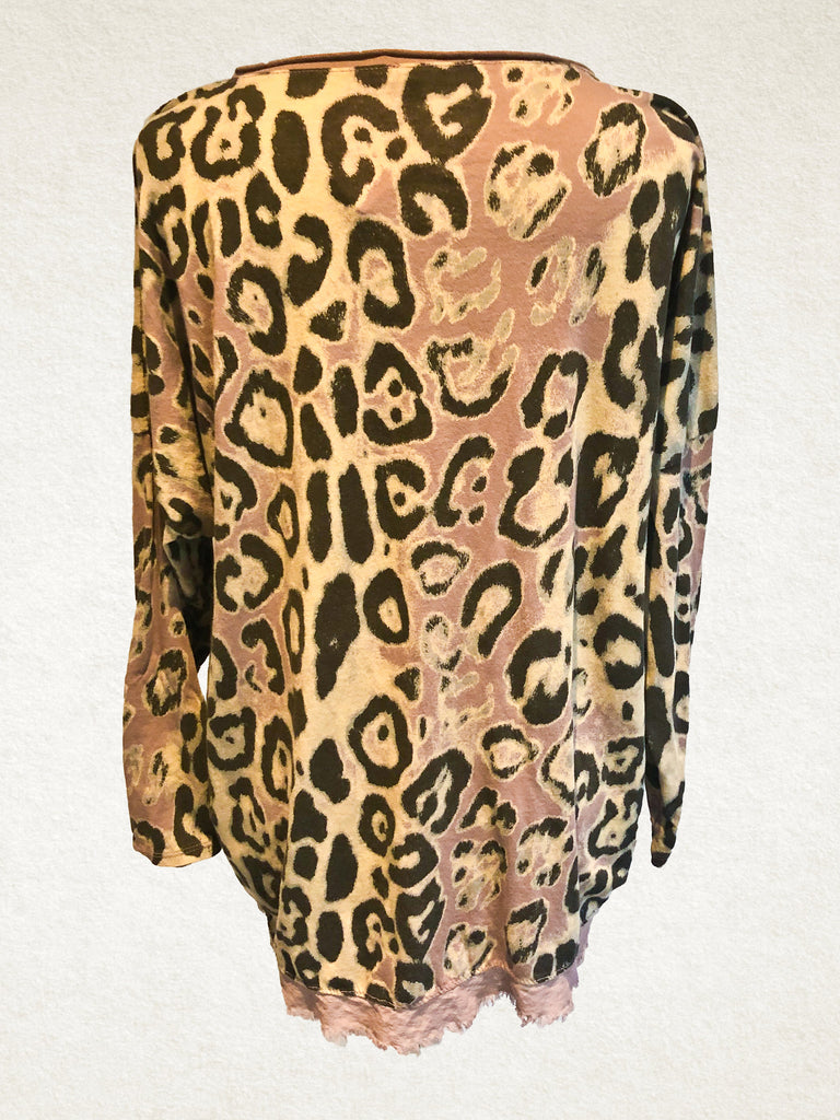 Soft Pink Leopard Print Free Size Top