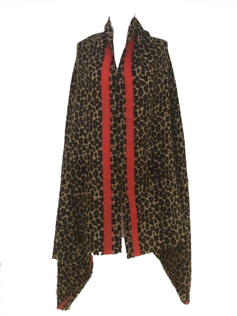 Large Leopard Print Scarf with Red Stripe