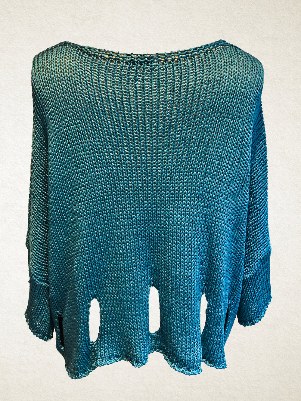Turquoise Cropped V Neck Jumper